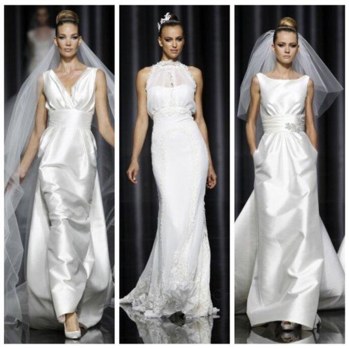 La ceinture accentue le décolleté de la robe de mariée. Pronovias 2012