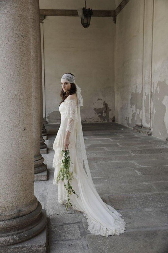 Vestido de novia 2014 con estilo hippie y mangas largas - Foto Alberta Ferretti