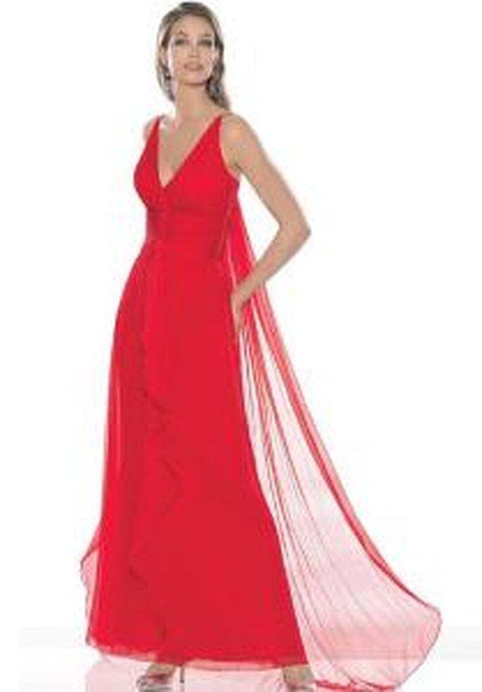 La Sposa 2009 - Robe rouge, longue, en mousseline, à décolleté en V