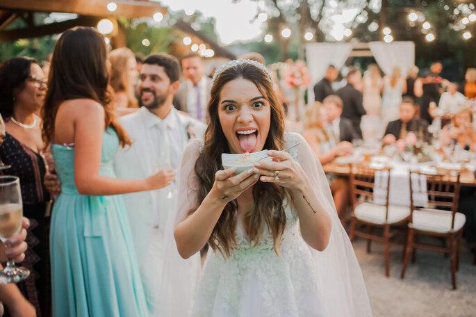 Momento espontâneo da noiva