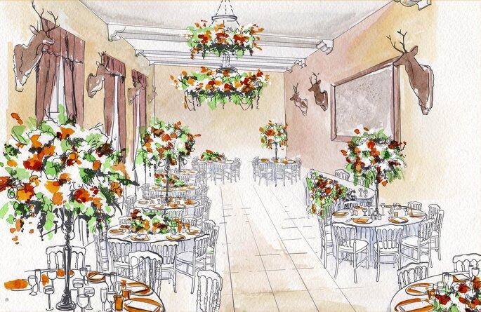 Esquisse de la décoration florale d'une salle de réception de mariage
