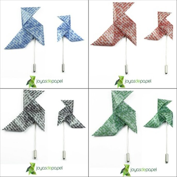 Broches de pajaritas de letra color azul, roja, negra y verde - Joyas de Papel