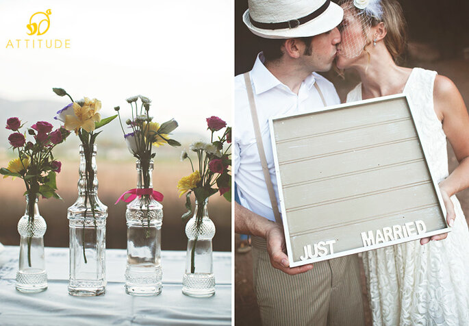 Look vintage para decorar la boda. Foto: Attitudefotografia.com