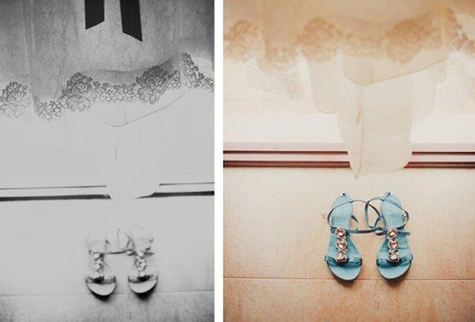 Hochzeit auf Mallorca Brautkleid und Brautschuhe - Foto: Nadia Meli.