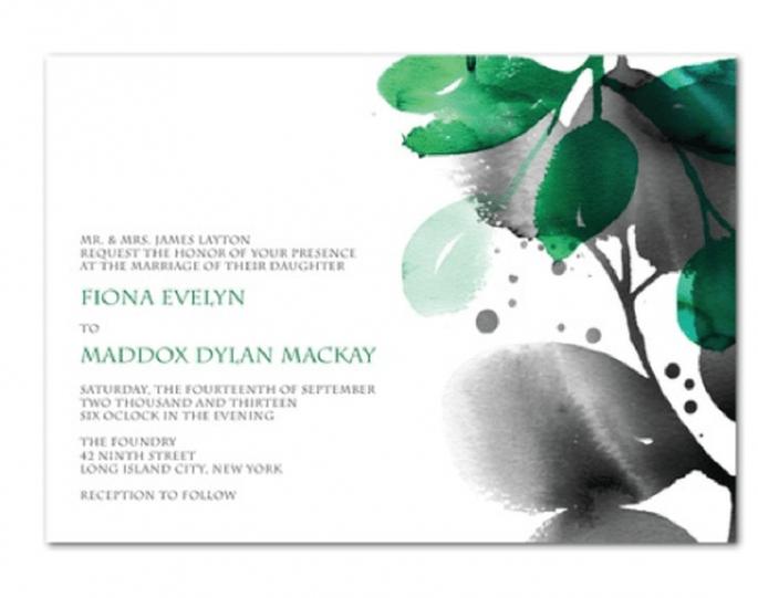 Invitación de boda con hojas y letras en color verde esmeralda - Foto Wedding Paper Divas