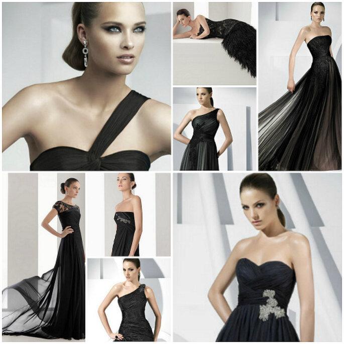 Vestidos de fiesta en color negro de Rosa Clará y Pronovias, colecciones 2011