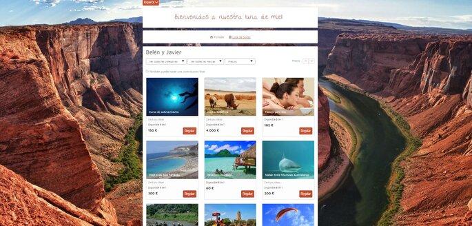 Vuestra lista de boda online personalizada con regalos ficticios