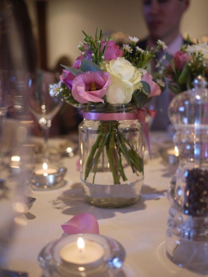 Centro de mesa para boda con frasco