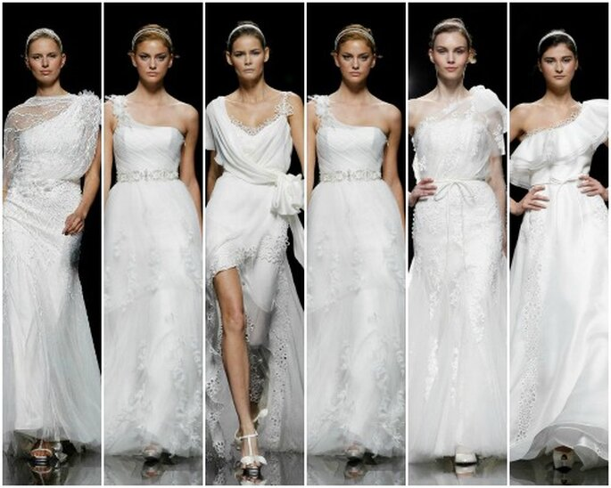 Vestidos de novia con escote asimétrico, de Pronovias 2013. Foto: Pronovias