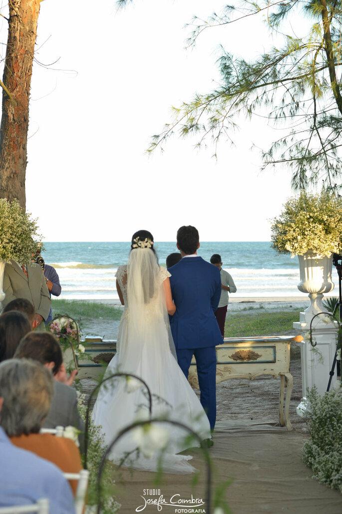 véu para noiva em casamento na praia