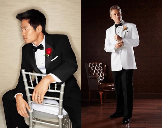 Esmoquin para novio en color blanco y negro con estilo clásico - Foto Men's Wearhouse