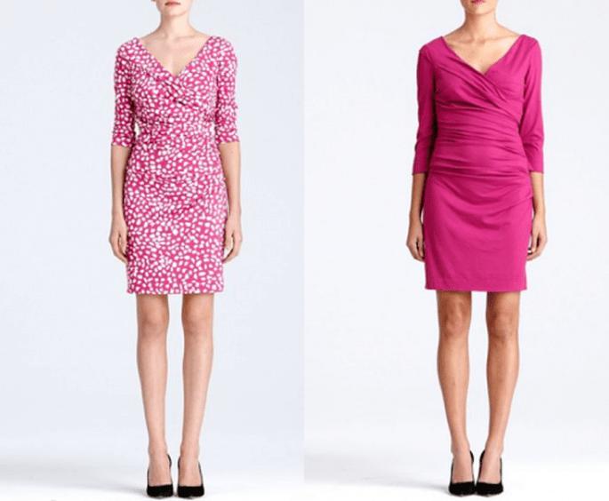 Vestidos cortos en color rosa con diseño cruzado y estampados para San Valentín - Foto DVF