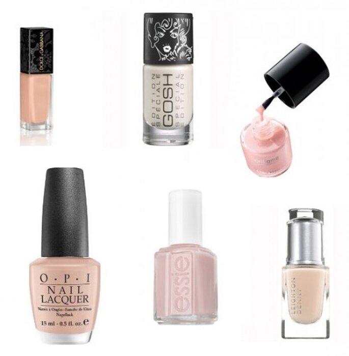Pintura de uñas para novias en tonos nude - Foto Gosh, Oriflame, Leighton Denny, Essie, OPI y Artdeco