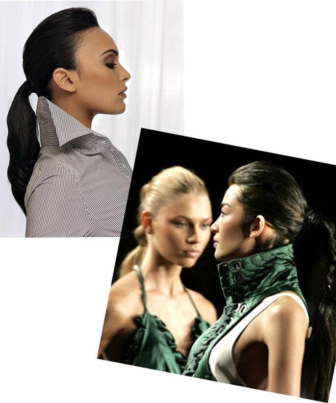 Coleta con volumen en la coronilla para mujeres de rostro en forma cuadrada - Fotos Barceloa Bridal Weey y New York Fashion Week