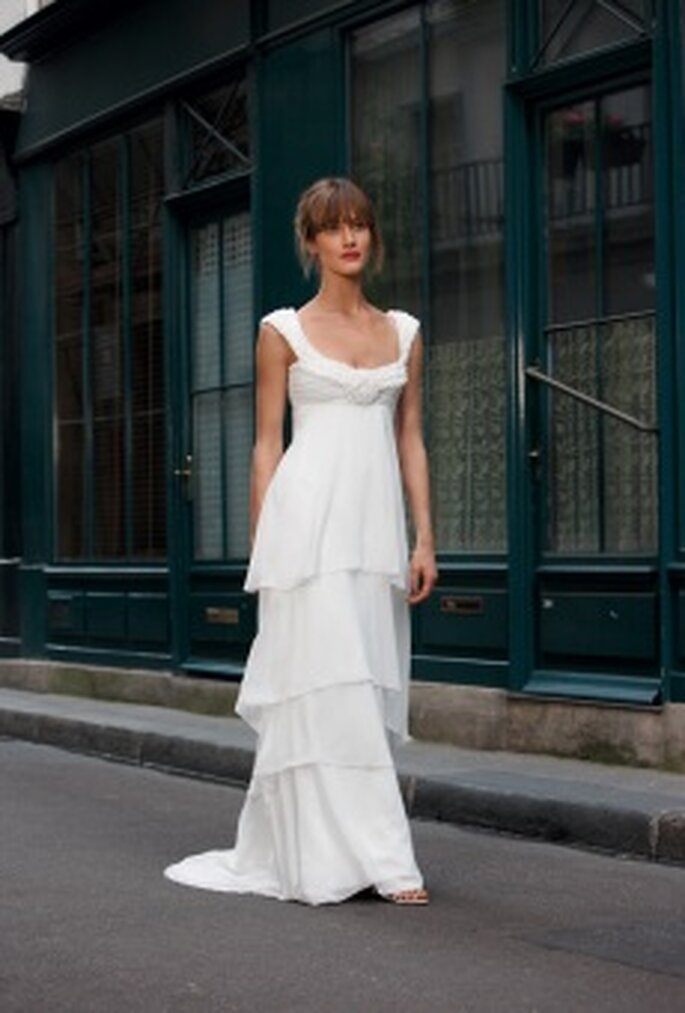 Cymbeline 2010 - Dawa, vestido largo en gaza y seda, escote corazón