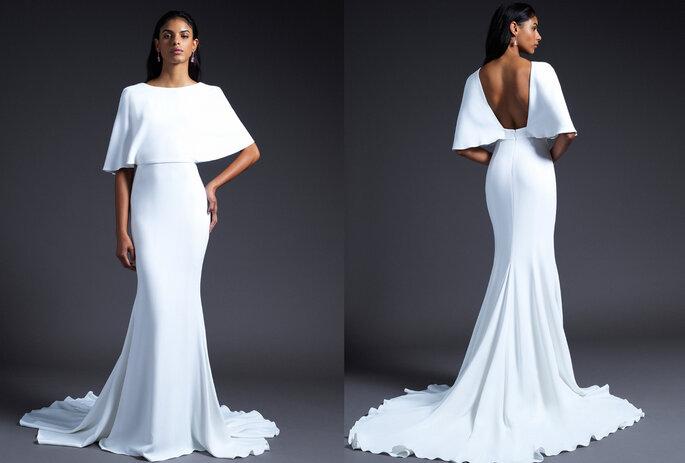 Vestido de novia con espalda descubierta corte sirena y cuello barco
