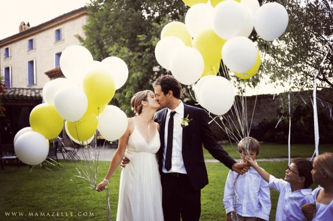 Nicht für Kinder eine Attraktion: Luftballons für die Hochzeitsdeko. Foto: Mélissa Lenoir.