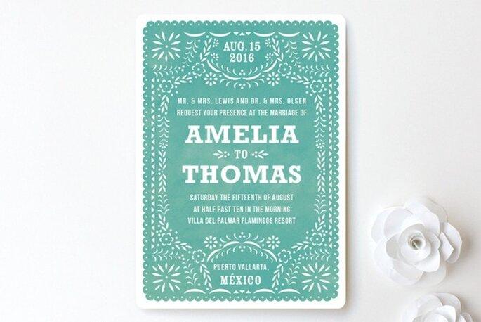 Invitaciones de boda con un diseño folklorico - Foto Minted