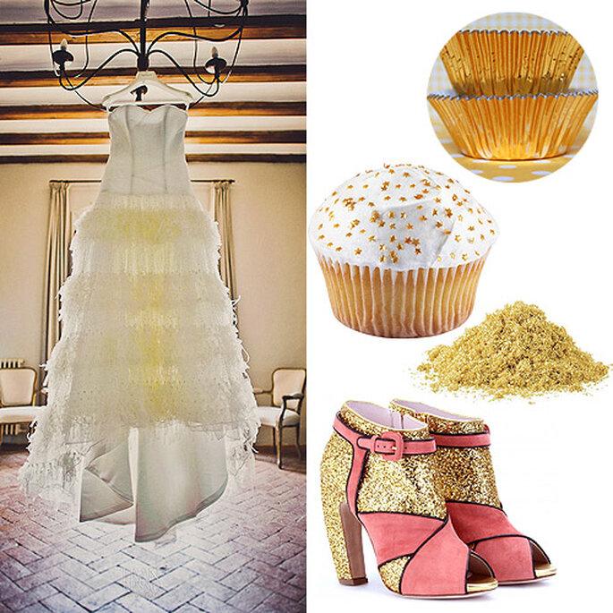 Zapatos 'Glitter' de Miu Miu. Cupcake con purpurina comestible, de Wilton. Baking cups, de Layer Cake Shop. Foto del vestido: Fran Russo