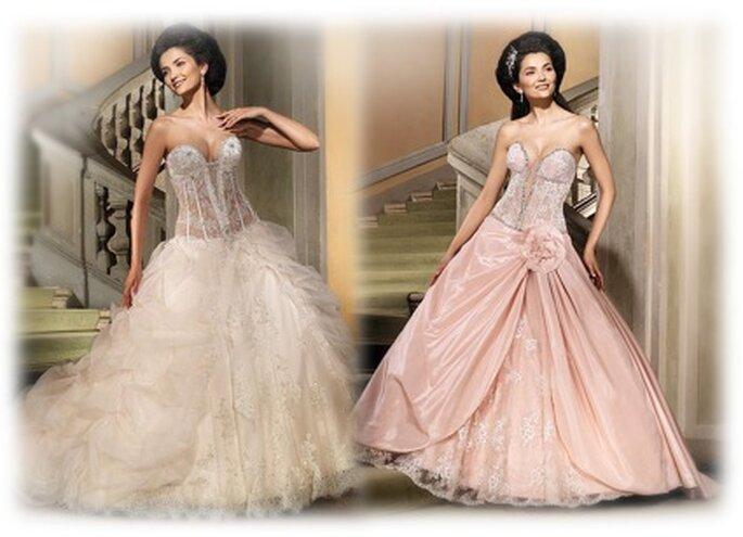 links: Eddy K 2010 - MD 28 TT, schulterfreies Prinzessinnenkleid in champagner mit transparentem Korsett, rechts: MD 47 TT, Kleid mit tiefem Ausschnitt, Spitzenkorsett, Raffungen und Zierblume, hübscher Spitzensaum unten