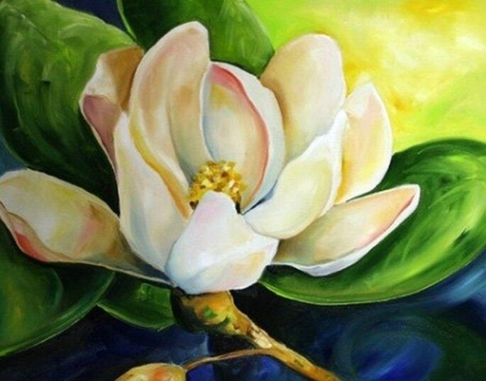 Rappresentazione di una magnolia che con le sue tinte delicate è sempre di grande ispirazioni ai designers. Foto  Laurie Justice Pace at Daily Painters