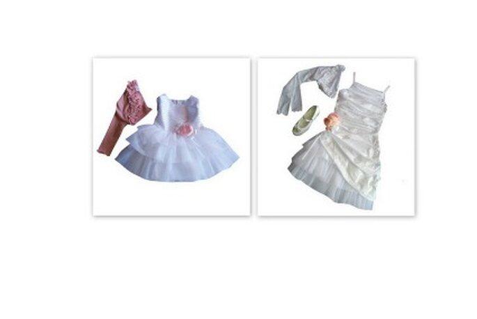 A destra abito in tulle e satin con rosa applicata sul davanti e coprispalle. A sinistra abito in taffettà con arricciatura,sottogonna in tulle e rosa sul fianco. I 2 MONELLI