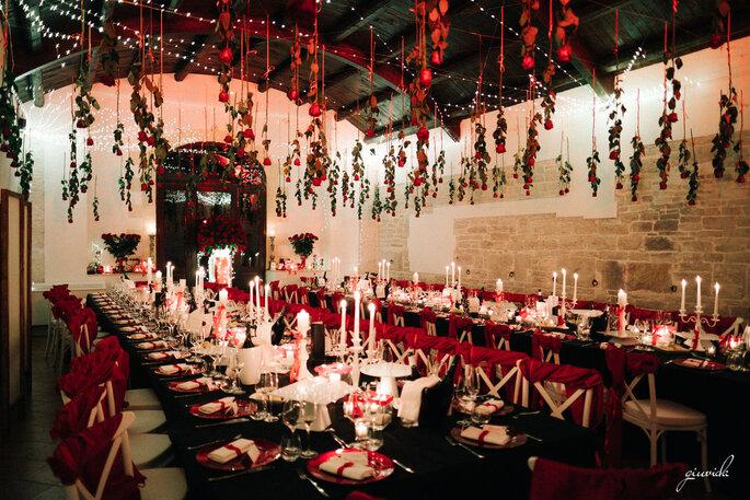 Giuvida Luxury Events - mise en place rosso e bianco