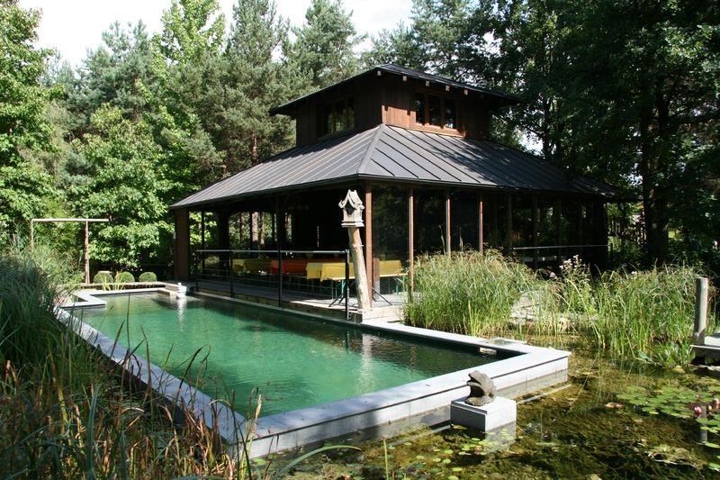 Beispiel: Pavillon und Bio-Schwimmbad, Foto: Traumgarten Thalwil.