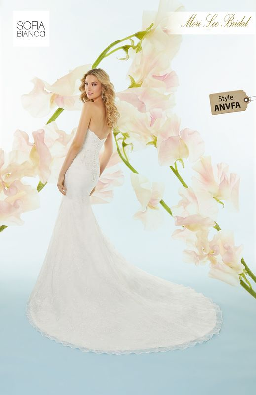 Style ANVFA Sylvie  Crystal beaded, re-embroidered lace appliqués on floral printed organza  Detachable printed organza train
