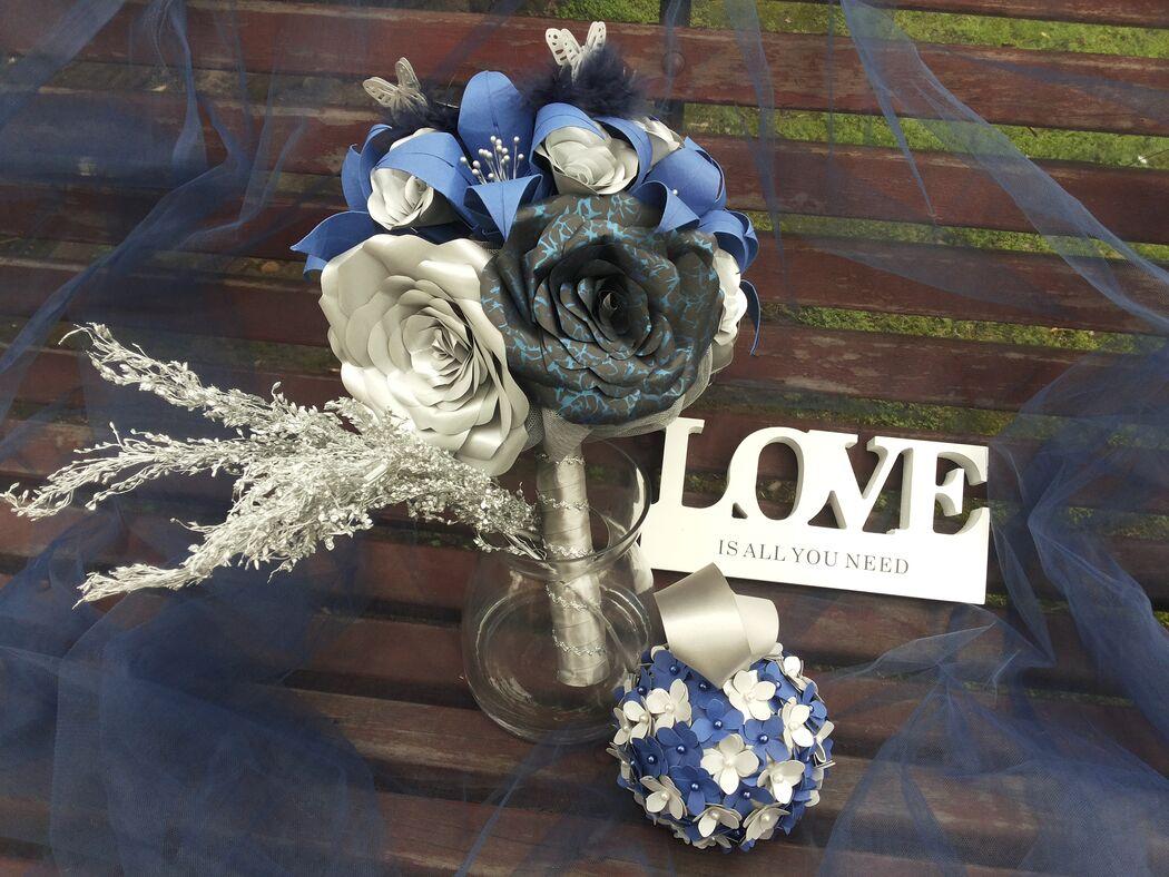 Ramo de novia Blue Glam (nuevo modelo, base modificada)