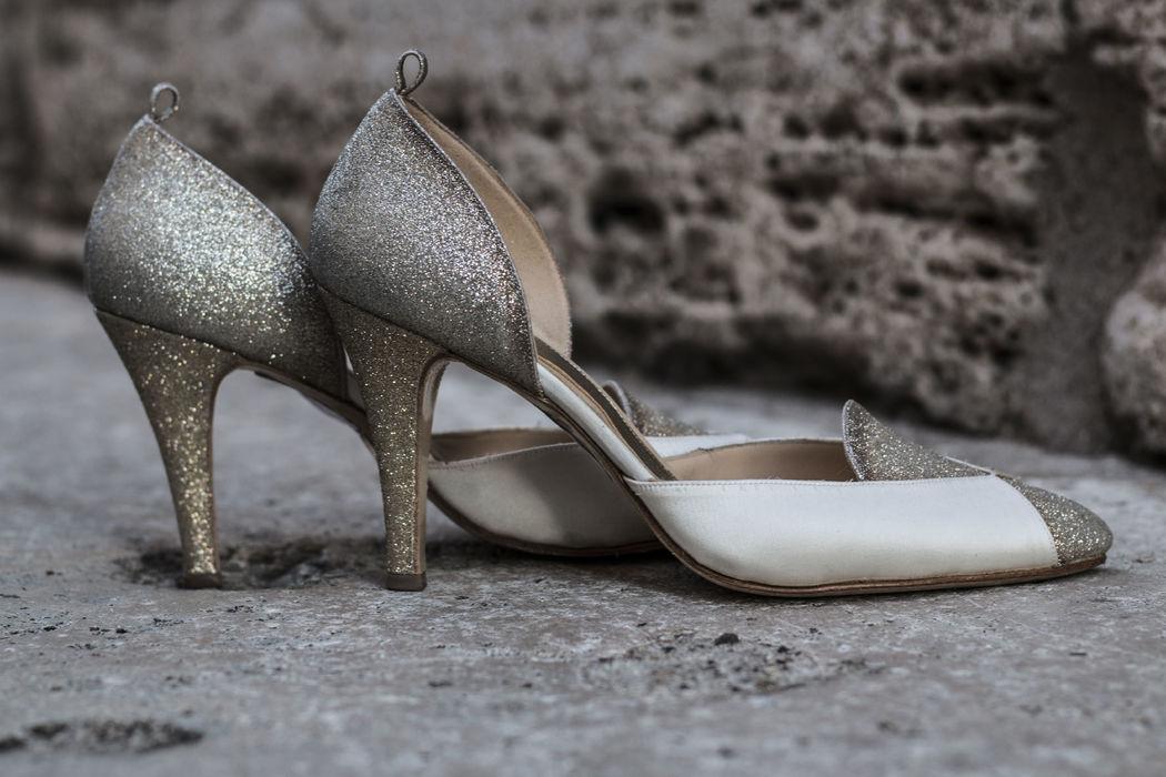 D'Orsay in glitter oro e arianna cipiria