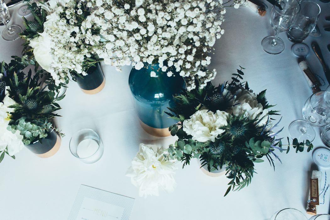 Centre de table/Bleu or blanc/ Estelle Leclerc