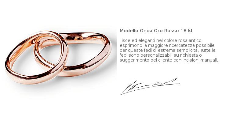 Fedi Matrimoniali Efrem Guidi Oro rosa LGBT Wedding Italy Milano Brera Modello Onda