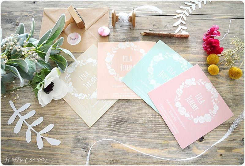 Faire-part mariage Fleurs blanches Faire-part moderne et coloré Happy Chantilly