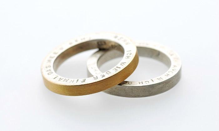 Beispiel: Ringe in Gold und Silber mit Gravur, Foto: Eve & Me.