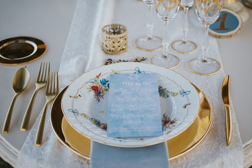 Dusty Blue + Gold Stationary