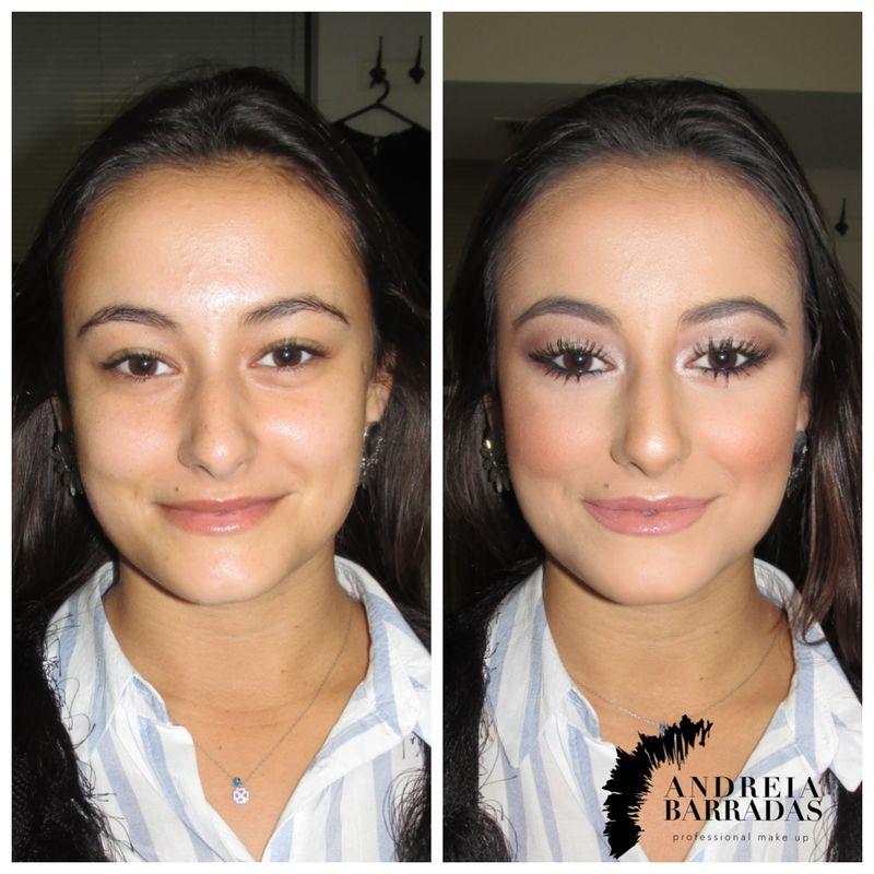 Maquilhagem para festa antes e depois