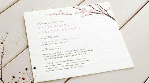 Beispiel: Hochzeitseinladung Kirschblüte, Foto: Honeybird.