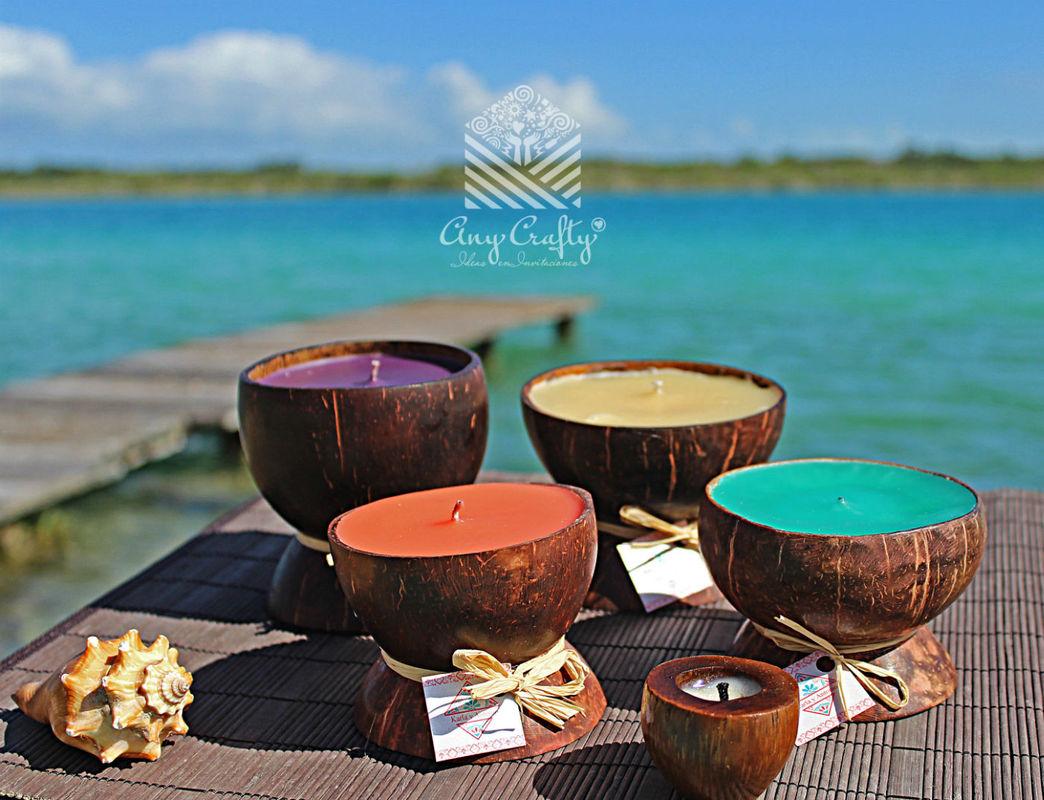 Velas de coco, diferentes aromas y colores