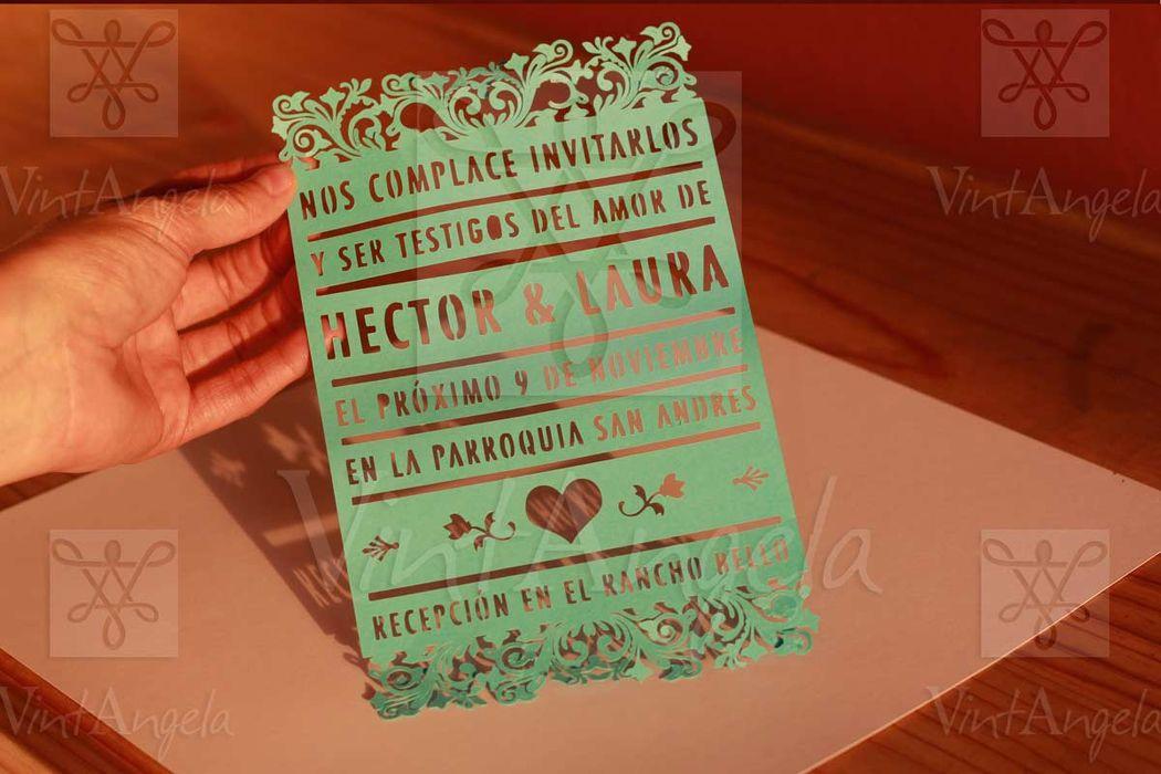 Vintangela: Invitaciones de bodas te presenta este modelo Old Mexico cortado, ubicados en Cuernavaca pero envian a todo el país.