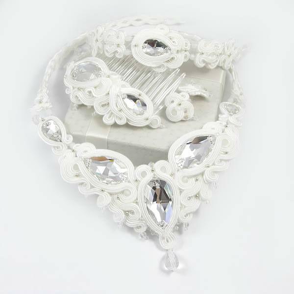 Małgorzata Sowa - PiLLow Design, Biżuteria ślubna sutasz. Kryształowy komplet ślubny - kryształy Swarovski, kryształ górski, sutasz, srebro