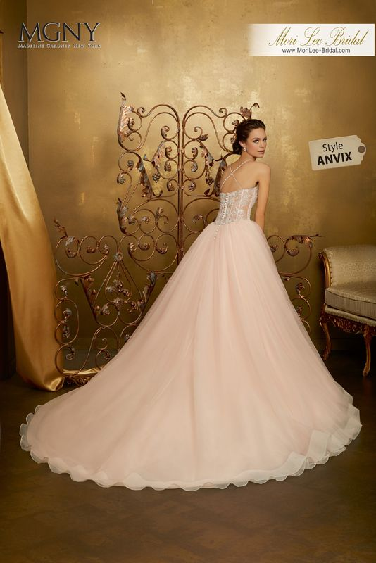 Style ANVIX Olenka  Diamanté and crystal encrusted embroidery on a boned, corset bodice with tulle ball gown skirt