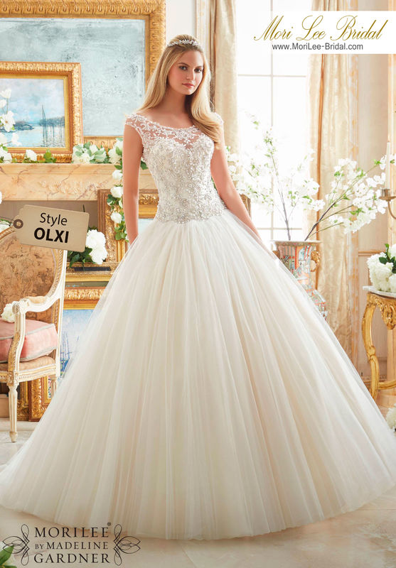 Dress style OLXI  CRYSTAL BEADED EMBROIDERY ON TULLE BALL GOWN  Colors Available: White/Silver, Ivory/Silver, Light Gold/Silver