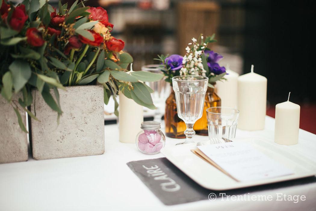Détails de la table réalisée pour le salon Happy Day Factory  Crédit photo : Trentième Etage