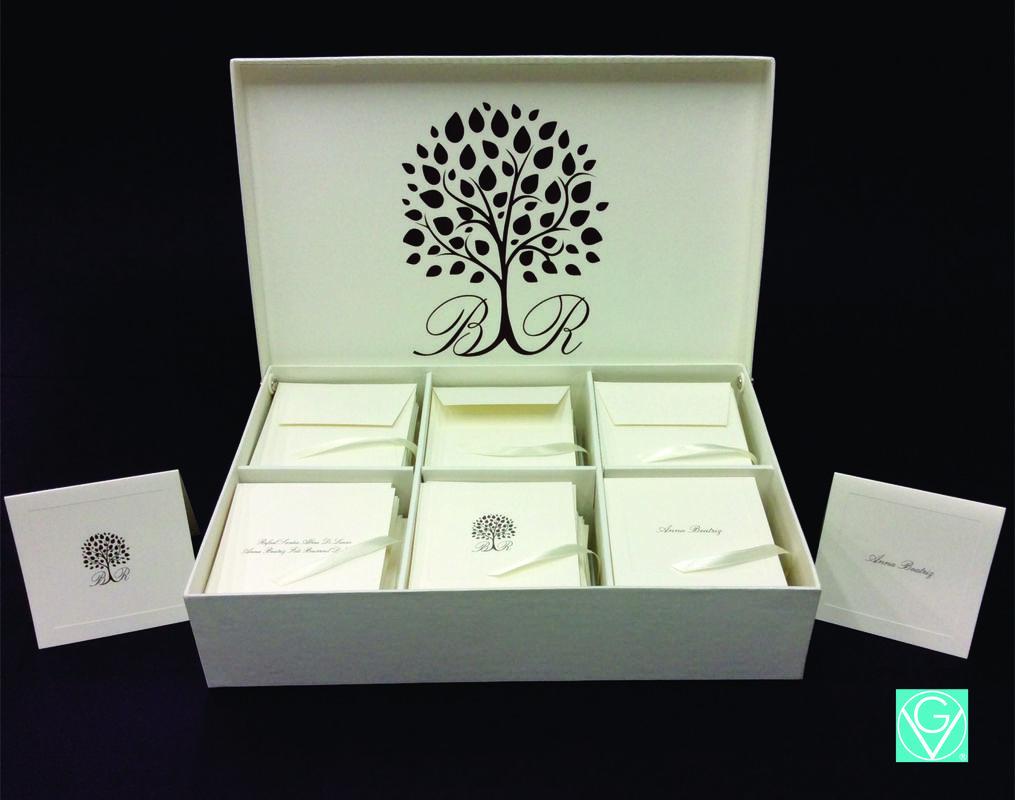 Caixa personalizada para cartões de agradecimentos. Um charme e elegância!