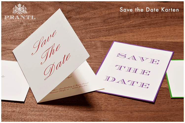 Beispiel: Save the Date Karte, Foto: Prantl Online Shop.