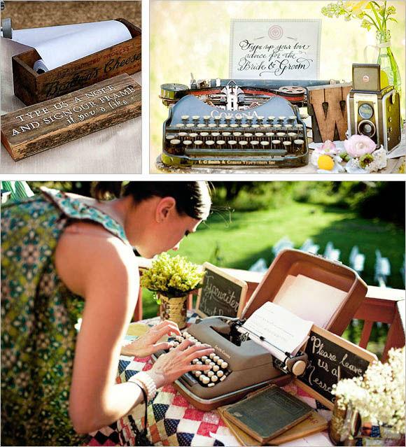 Alternative Guestbook Idea - Noleggio Macchina da scrivere Vintage + cassetta personalizzata per raccogliere dediche e firme dei vostri invitati