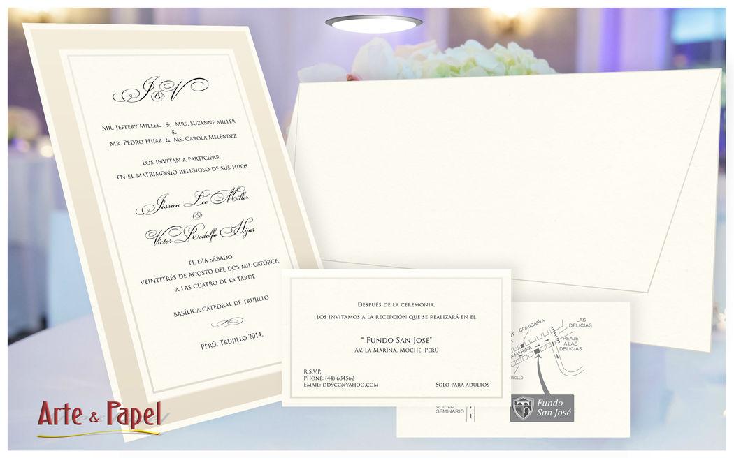 Moderna Invitacion que mezcla varias cartulinas para un hermoso acabado