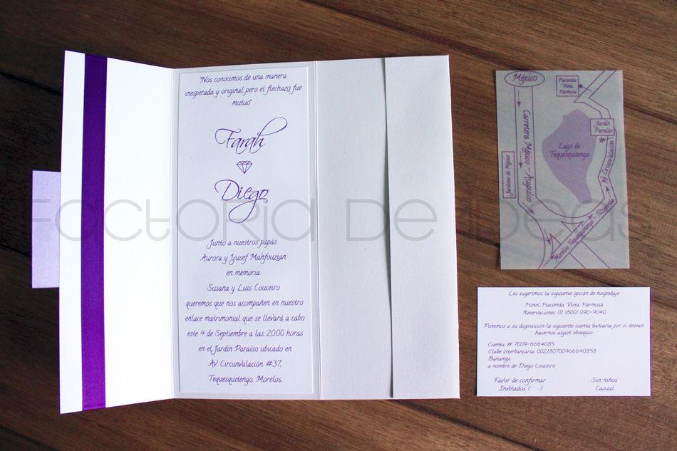 Invitación fresca para boda en Teques en tonos lila. Muy original.