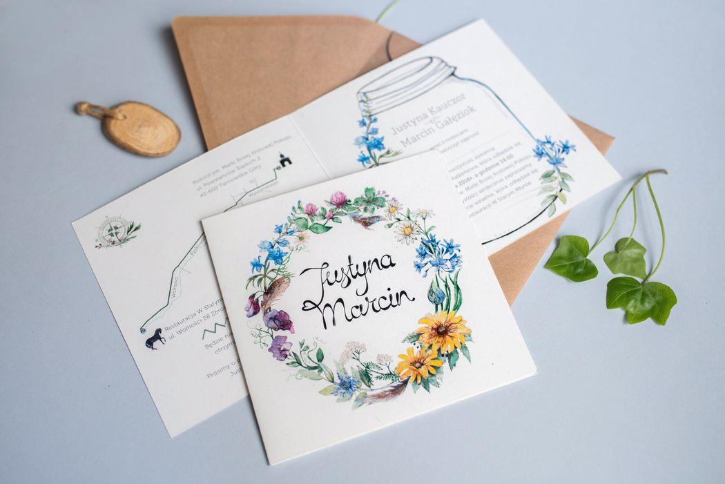 Wilga i Kruk - zaproszenia ślubne